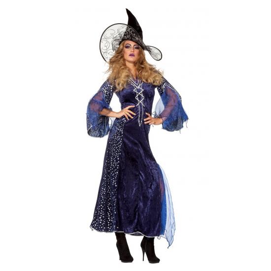 Lange paarse heksenjurk dames 40 (L) Multi