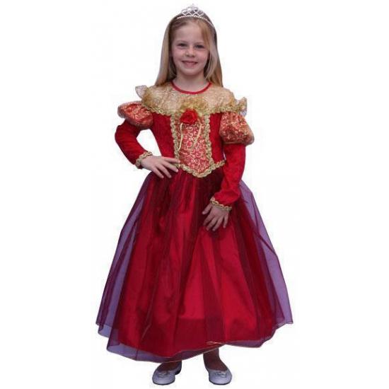 Lange rode prinsessen jurk 152 Rood