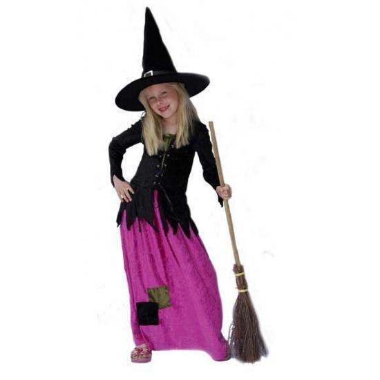 Lange roze heksenjurk voor meisjes 164 Multi
