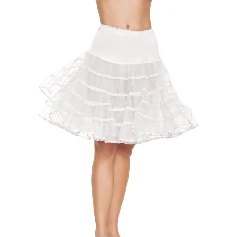 Lange tule onderrok wit voor dames One size Wit