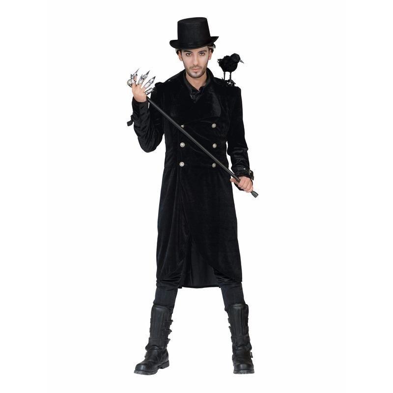 Lange zwarte mantel met gesp heren 52-54 (L/XL) Zwart