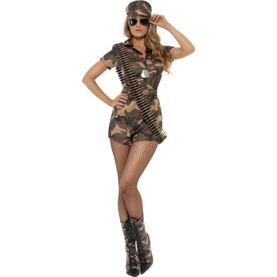 Leger verkleedkleding voor dames 40-42 (M) Groen