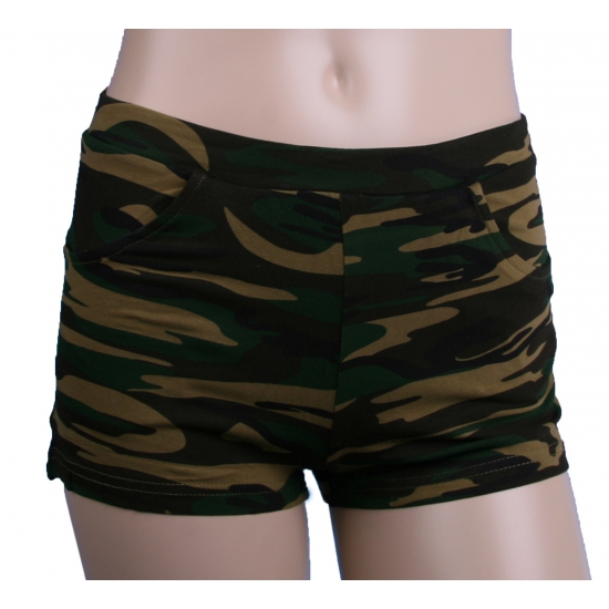 Legerprint hotpants voor dames S/M Multi
