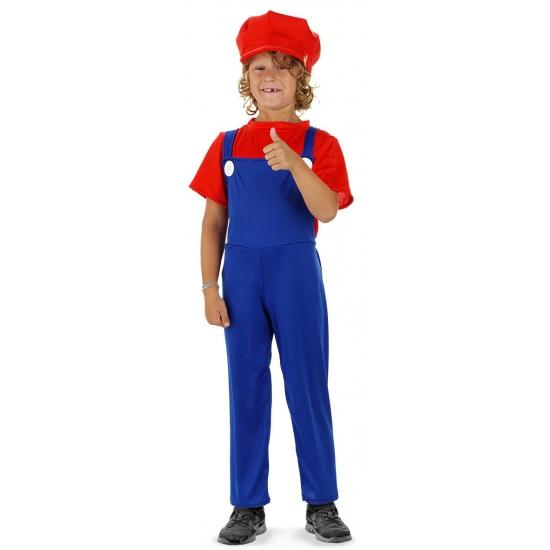 Loodgieter Mario pak rood voor jongens 9-11 jaar (L) Multi