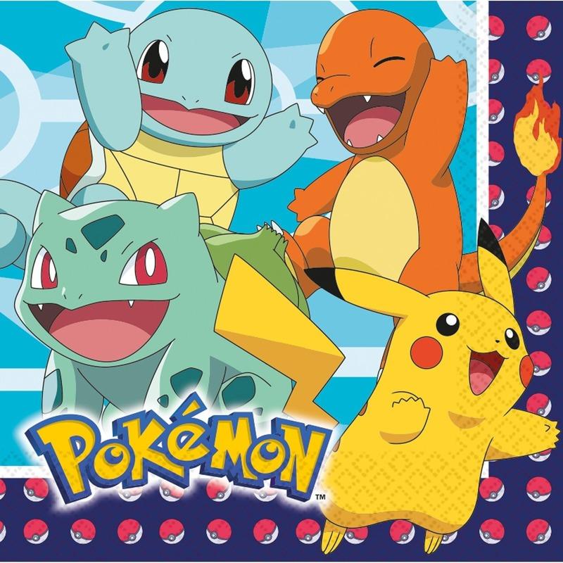 Lunchservetten Pokemon 48 stuks tafeldecoratie - Feestservetten