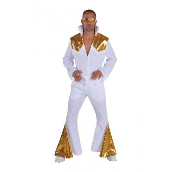 Luxe Elvis kostuum wit/goud 52-54 (M) Multi
