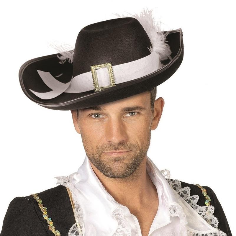 Luxe musketiers hoed zwart met wit