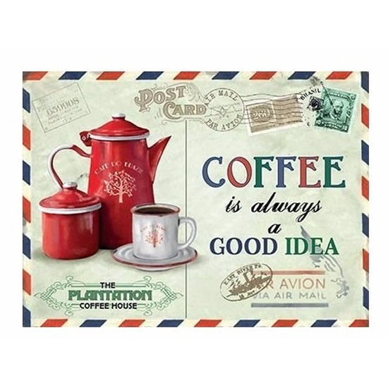 Metalen koffie thema plaatje Always A Good Idea 15 x 20 - Feestdecoratieborden
