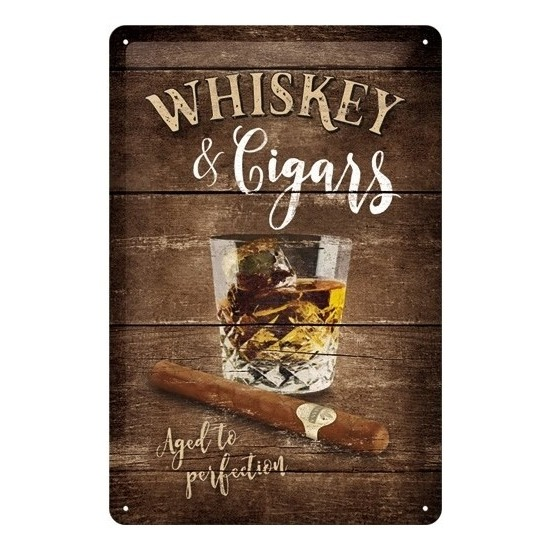 Metalen muurplaatje Whisky and Cigars 20 x 30 cm -
