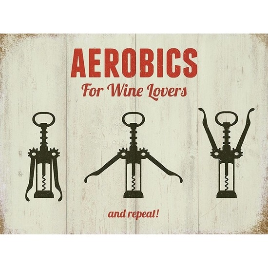 Metalen plaatje Aerobics For Wine Lovers 15 x 20 - Feestdecoratieborden