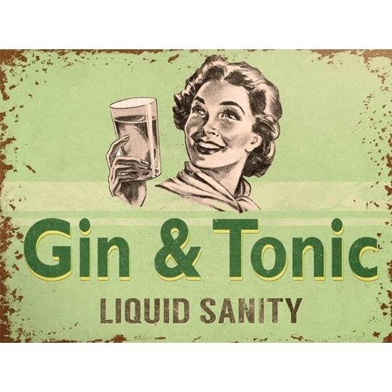 Metalen plaatje Gin Tonic Liquid Sanity 15 x 20 -