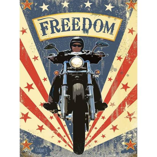 Metalen plaatje motorbikes Freedom -