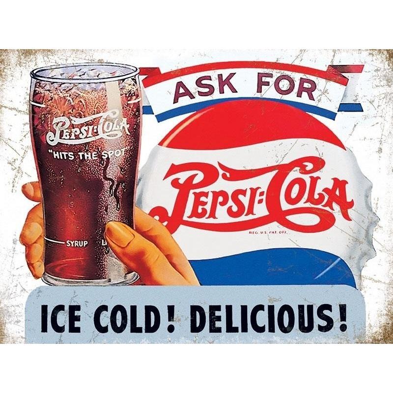 Metalen plaatje Pepsi Cola Ice Cold 30 x 40 cm -