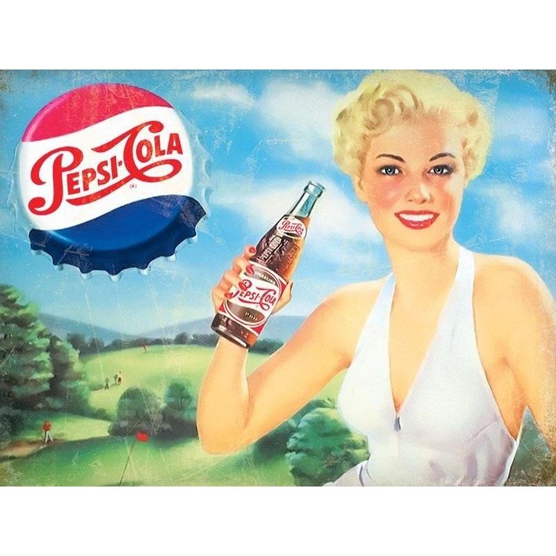 Metalen plaatje Pepsi Cola met dame 30 x 40 cm Multi
