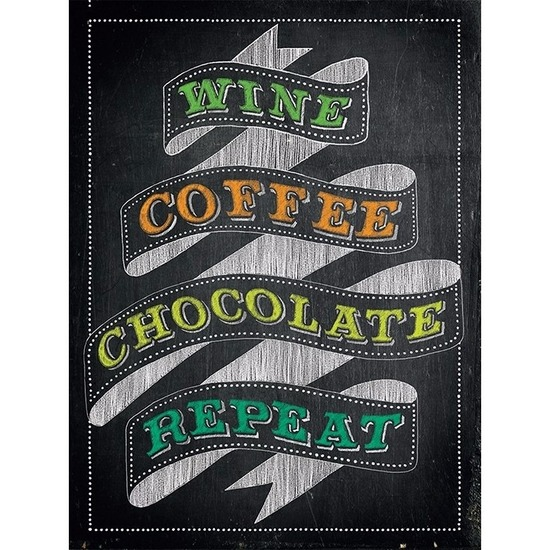 Metalen plaatje Wine Coffee Chocolate Repeat 30 x 40 -