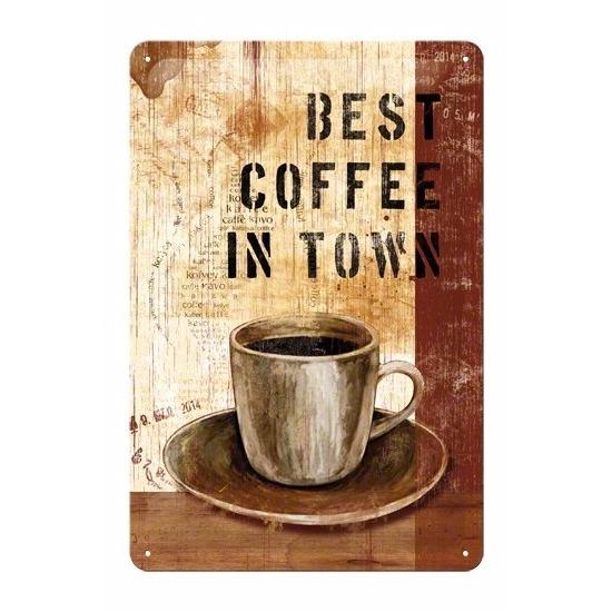 Metalen poster Muurdecoratie koffie 20 x 30 cm Multi