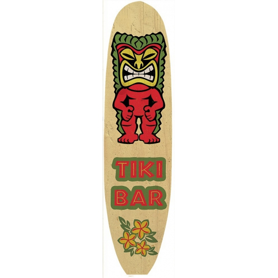 Metalen surfboard Tiki Bar -