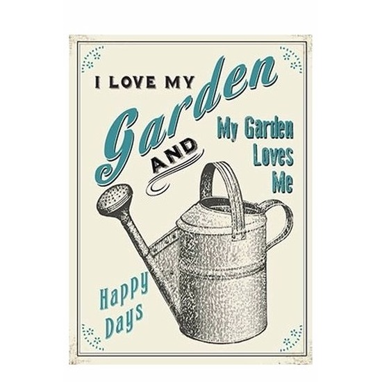 Metalen tuin plaatje I Love My Garden 15 x 20 Multi
