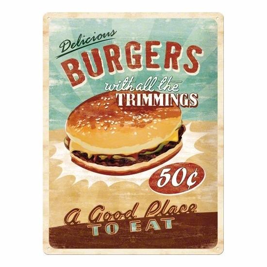 Metalen wanddecoratie van een hamburger -