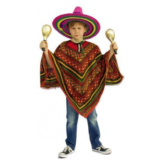 Mexicaanse ponchos kinderen One size Multi