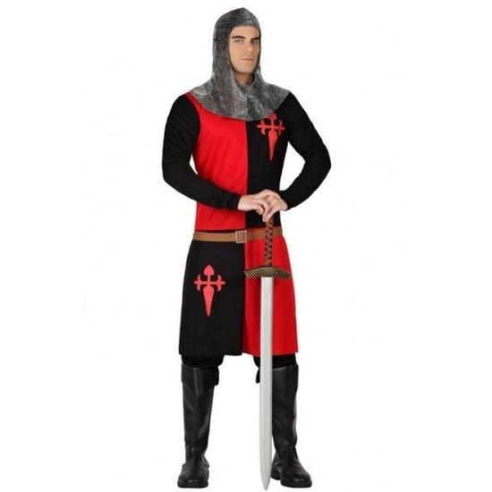 Middeleeuws ridder verkleed pak rood/zwart voor heren XL Multi
