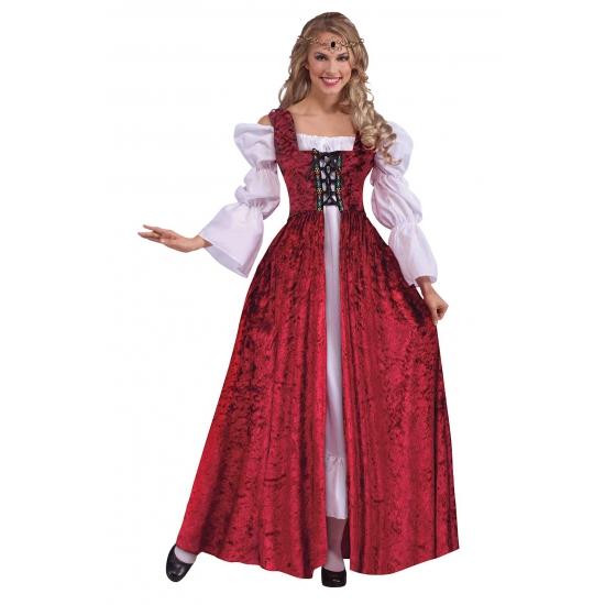 Middeleeuwse jurk met fluweel look One size Rood