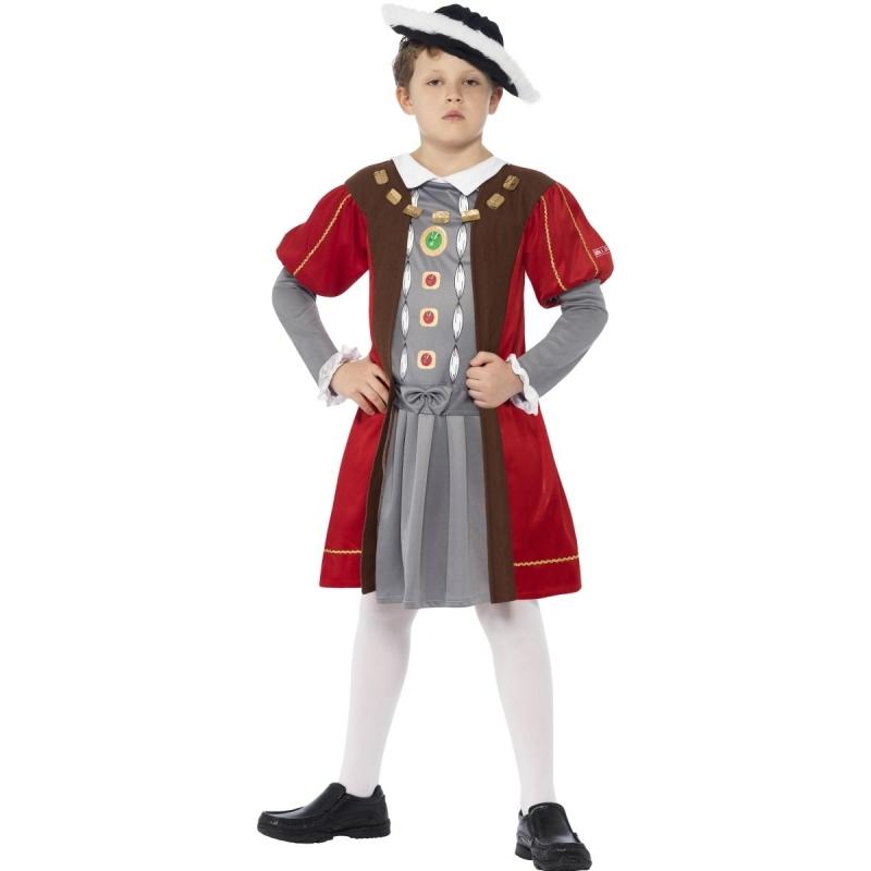 Middeleeuwse koning kostuum voor jongens 130-143 (7-9 jaar) Multi