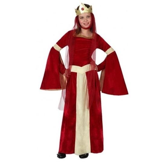 Middeleeuwse verkleedset Eleanor voor meisjes 140 (10-12 jaar) Rood