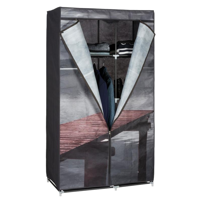 Mobiele kledingkast/garderobekast lake met rits 160 cm Multi