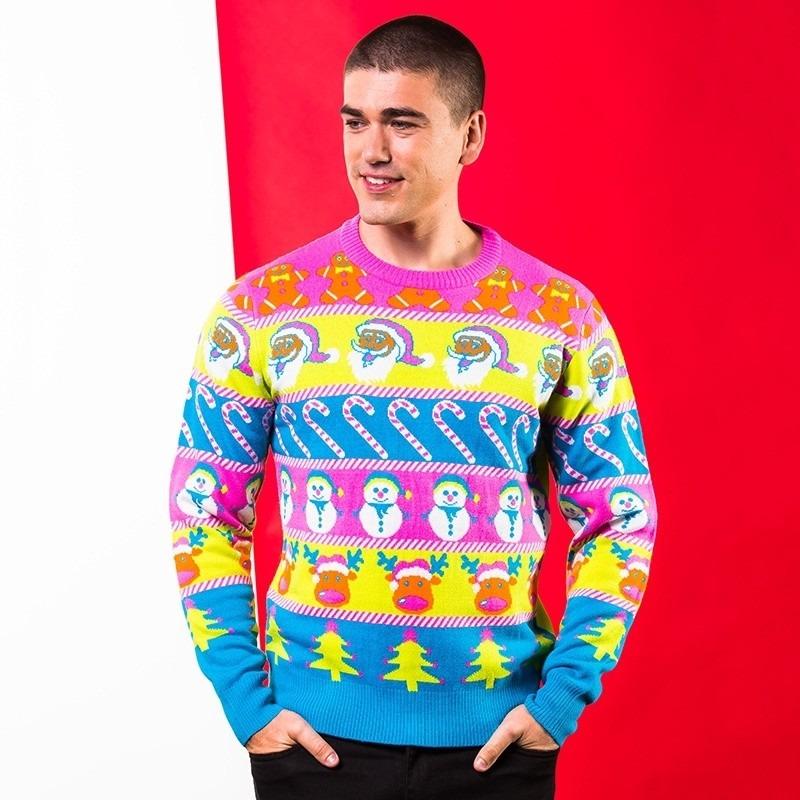 Multikleuren kerst trui voor heren 2XL (46/56) -