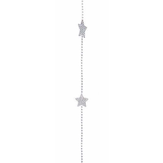 Mystic Christmas kerstboom decoratie kralenslinger zilver 270 cm