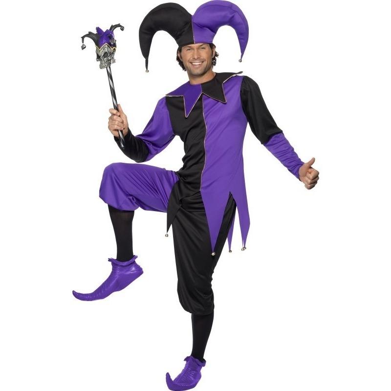 Narren verkleedkleding zwart/paars voor heren 48-50 (M) Paars