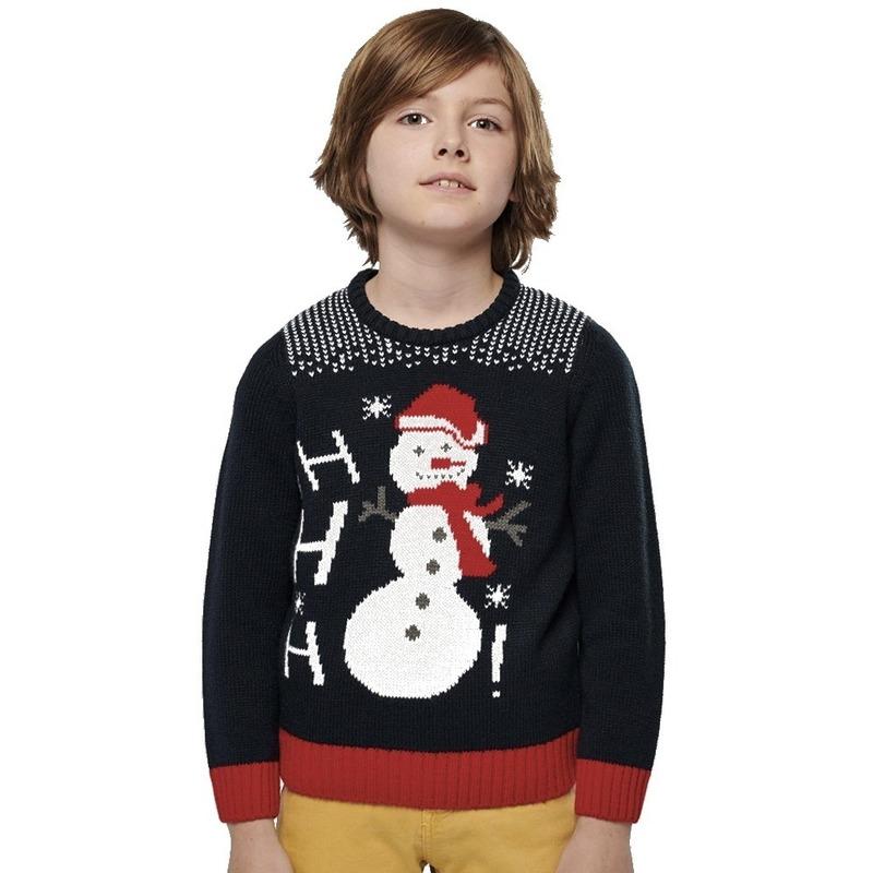 Navy blauwe foute/lelijke gebreide kersttrui met sneeuwpop print voor kinderen XL (12/14) Blauw