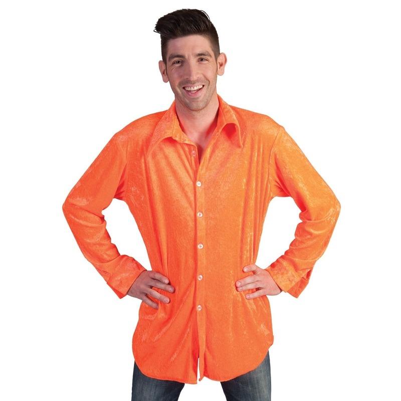 Neon oranje velours overhemd voor heren 56-58 (2XL/3XL) Oranje