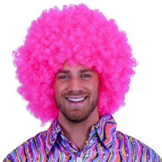 Neon roze afro pruik Roze