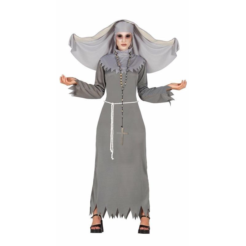 Nonnen dames verkleedkleding grijs 42-44 (L/XL) Grijs