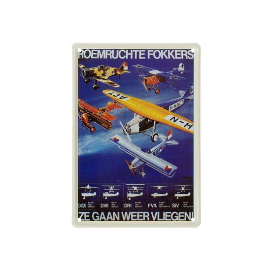 Nostalgische plaat Fokker 20 x 30 cm - Feestdecoratieborden