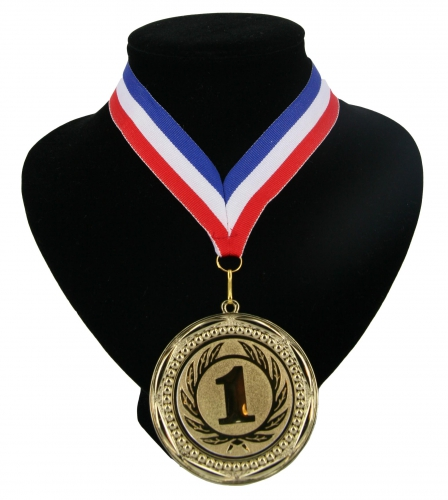 Nummer 1 medaille rood wit blauw Multi