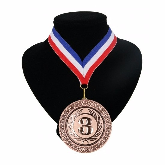 Nummer 3 medaille rood wit blauw Multi