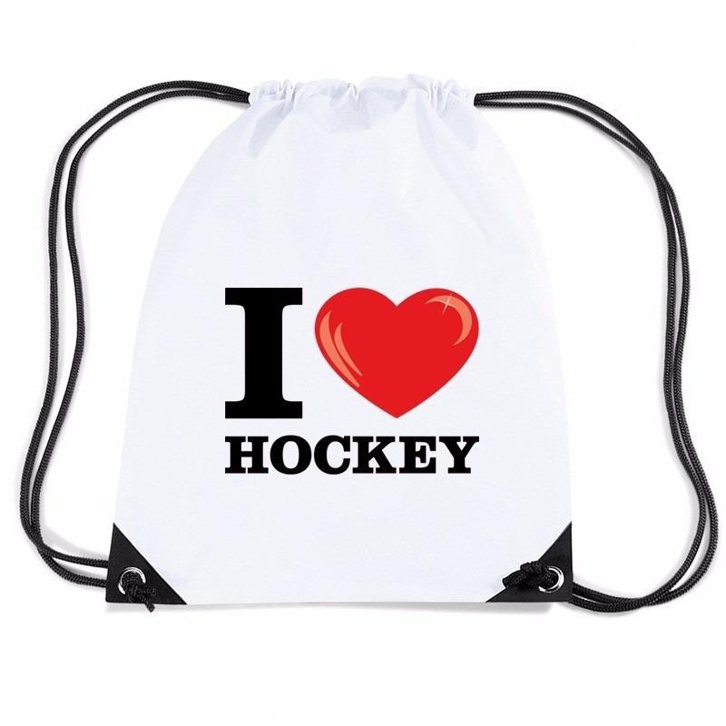 Nylon sporttas I love hockey wit Wit