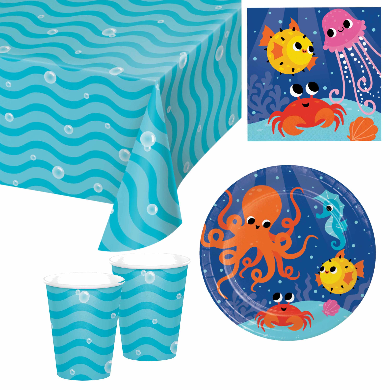 Oceaan print feestje versiering pakket 9-16 personen -