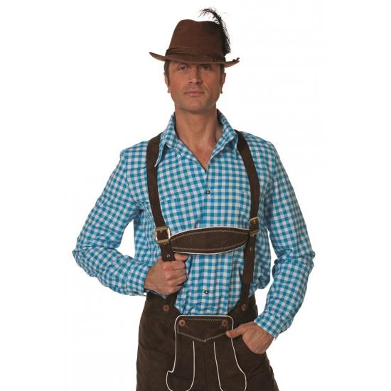 Oktoberfest heren blouse blauw/wit 2XL Multi