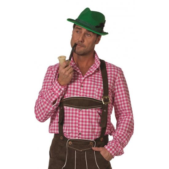 Oktoberfest heren blouse roze wit M Roze