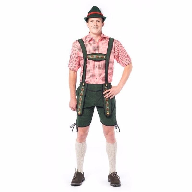Oktoberfest korte lederhose donker groen voor heren 48 (S) Groen