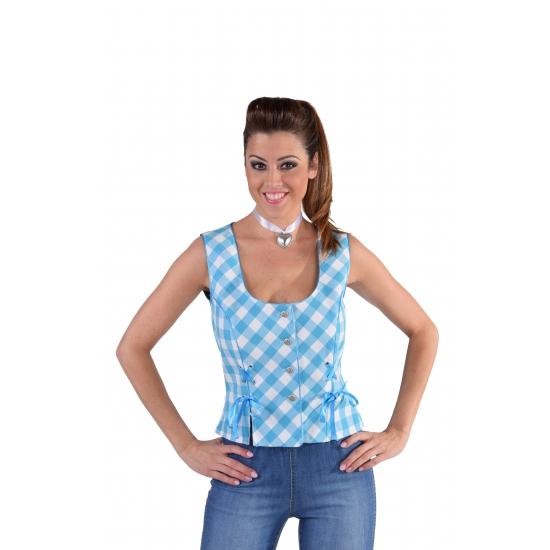 Oktoberfest mouwloos hemd blauw 40 (M) Multi