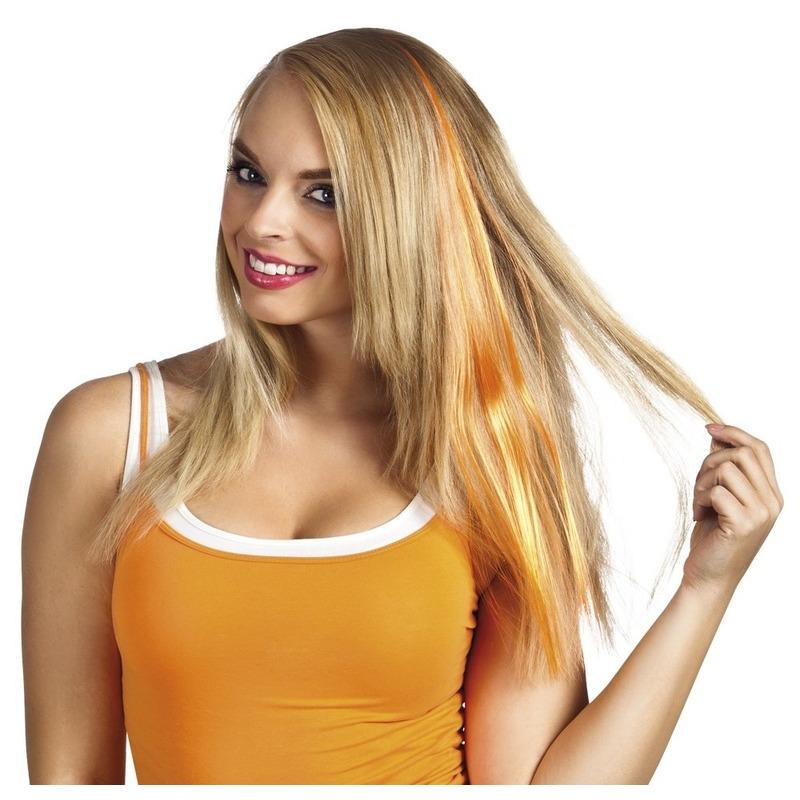Oranje clip-in haar extension voor dames