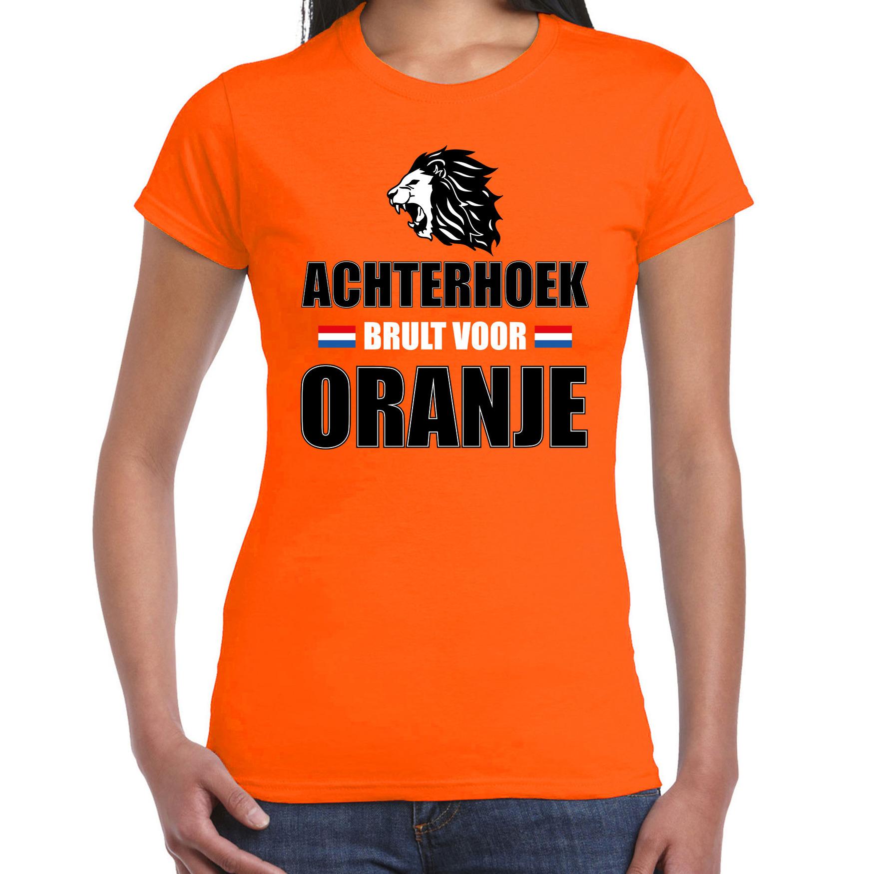 Oranje EK/ WK fan shirt / kleding de Achterhoek brult voor oranje voor dames M -