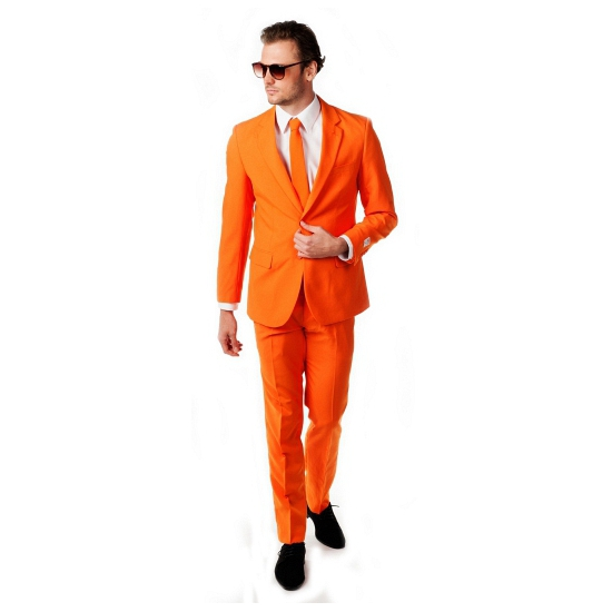 Oranje heren feest/party kostuum de luxe met stropdas 46 (S) Oranje