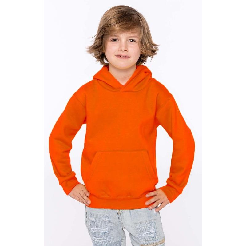 Oranje jongens truien sweaters met hoodie capuchon L (10 12) Sporttruien