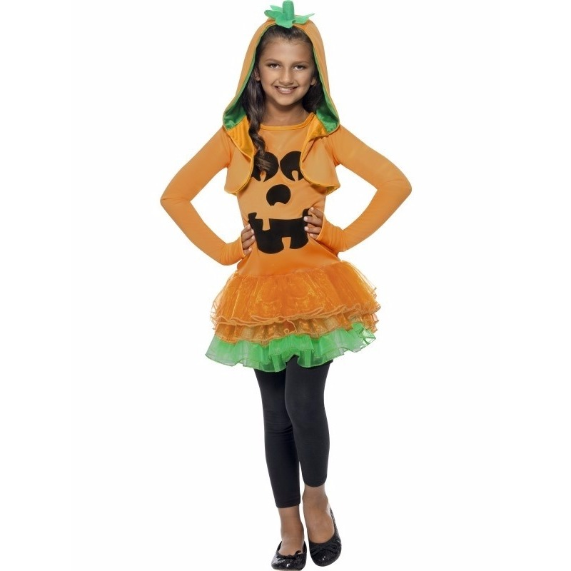 Oranje pompoenen jurkje voor meiden 130-143 (7-9 jaar) Oranje